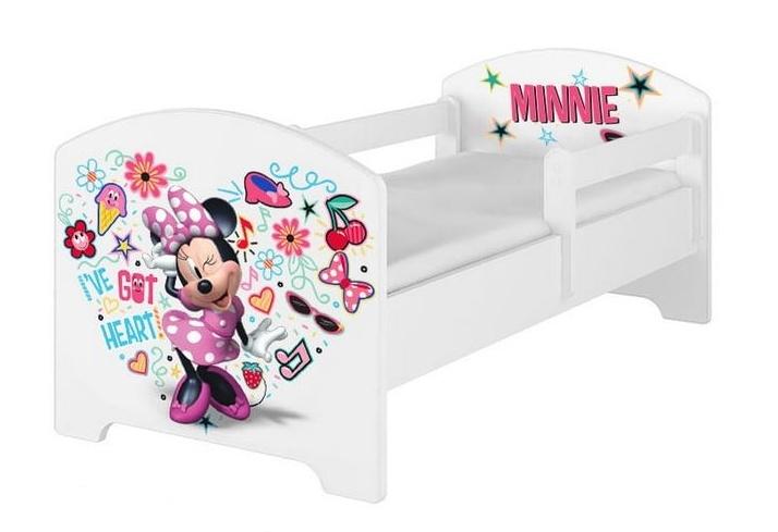 BabyBoo Dětská postel s pěnovou matrací Disney 140 x 70 cm - Minnie Music, bílá