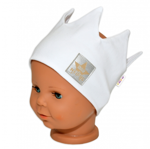 Baby Nellys Hand Made Bavlněná čelenka - dvouvrstvá, Korunka - bílá, 1-3roky