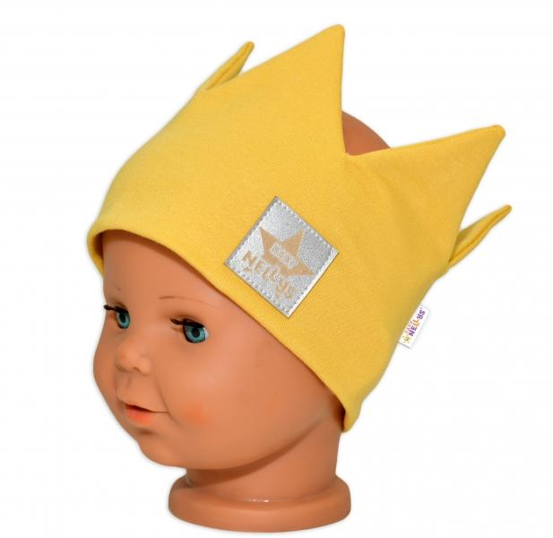 Baby Nellys Hand Made Bavlněná čelenka - dvouvrstvá, Korunka - hořčicová, 44-48cm, 3-7let