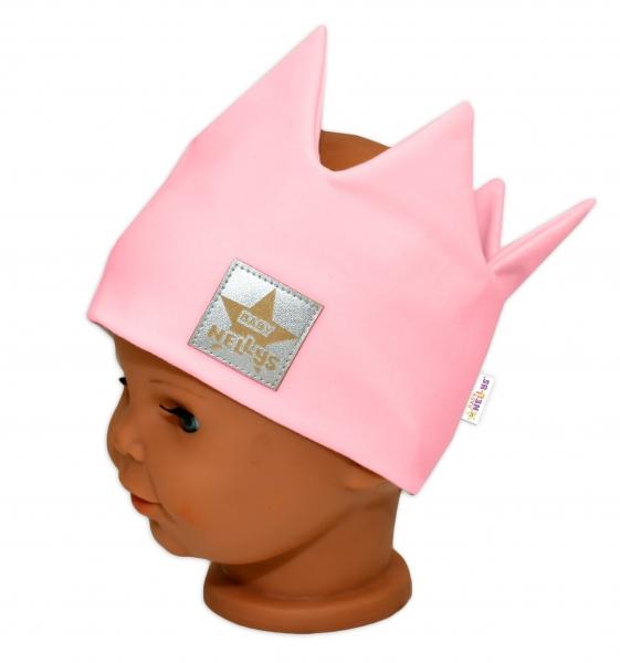 Baby Nellys Hand Made Bavlněná čelenka - dvouvrstvá, Korunka - sv. růžová, 1-3roky