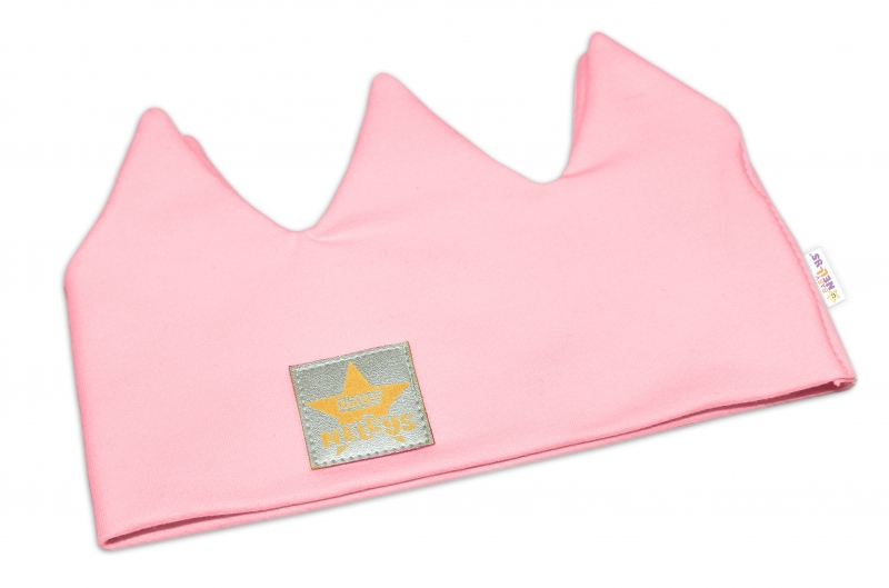 Baby Nellys Hand Made Bavlněná čelenka - dvouvrstvá, Korunka - sv. růžová, 44-48cm, 3-7let