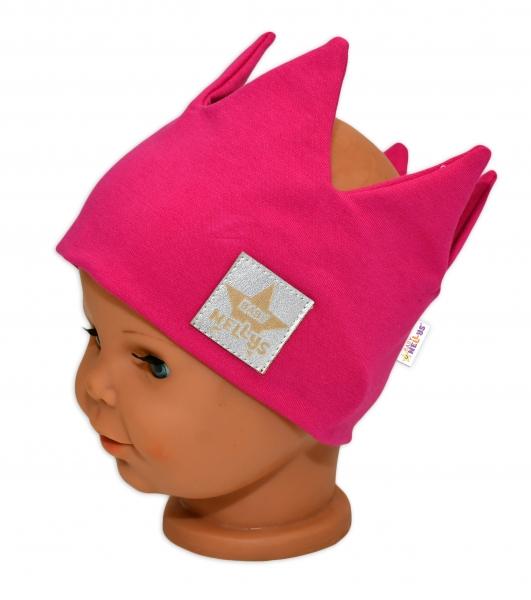 Baby Nellys Hand Made Bavlněná čelenka - dvouvrstvá, Korunka - tm. růžová, 1-3roky