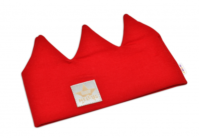 Baby Nellys Hand Made Bavlněná čelenka - dvouvrstvá, Korunka - červená, 1-3roky