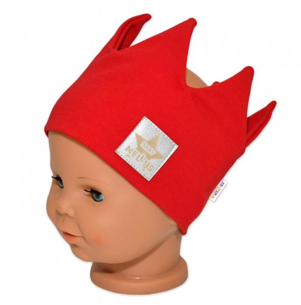 Baby Nellys Hand Made Bavlněná čelenka - dvouvrstvá, Korunka - červená, 44-48cm, 3-7let