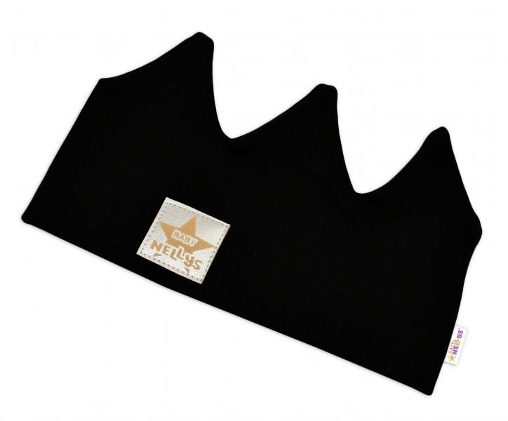 Baby Nellys Hand Made Bavlněná čelenka - dvouvrstvá, Korunka - černá, 44-48cm, 3-7let