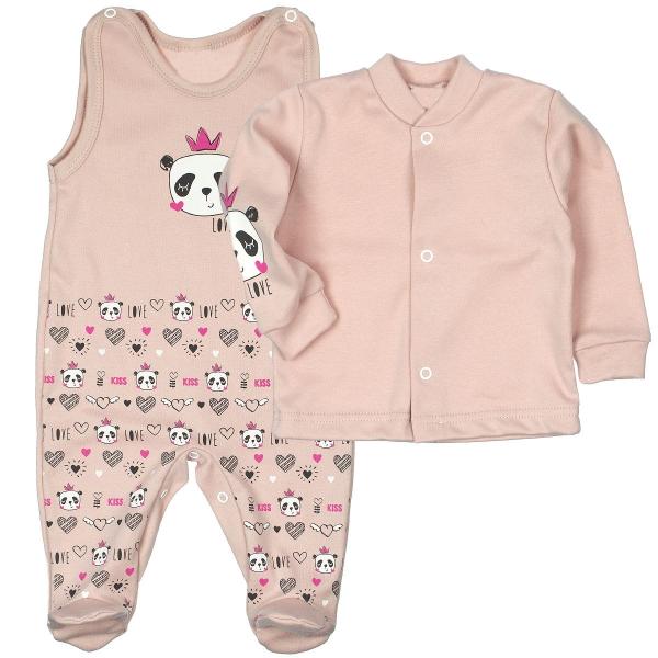 MBaby 2-dílná kojenecká sada PANDA Love - pudrově růžová, vel. 62