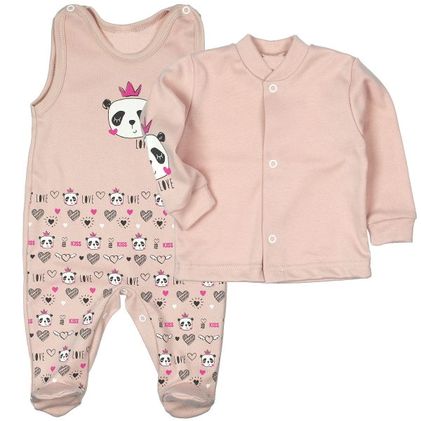 MBaby 2-dílná kojenecká sada PANDA Love - pudrově růžová, vel. 68