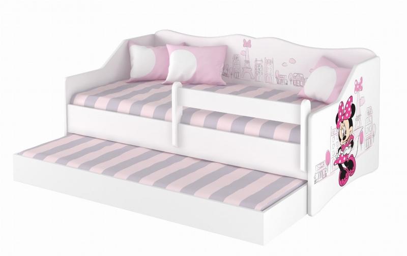 BabyBoo Dětská postel LULU 160 x 80 cm - bílá Minnie Paris