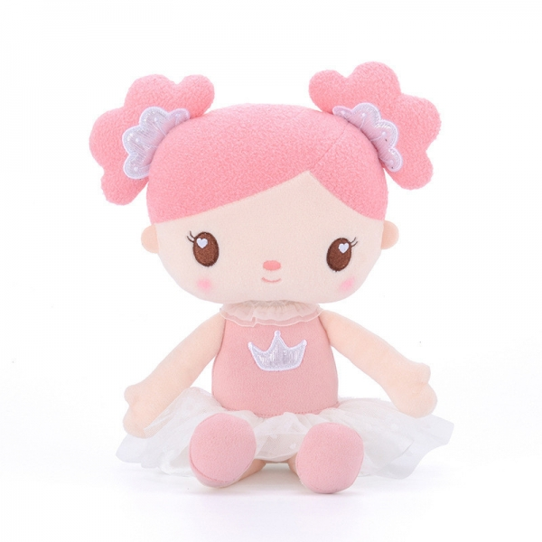 Hadrová panenka Metoo Princezna, 40 cm - korunky - růžovo/bílá