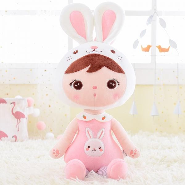 Hadrová panenka Metoo Zajíček, 55 cm - růžová