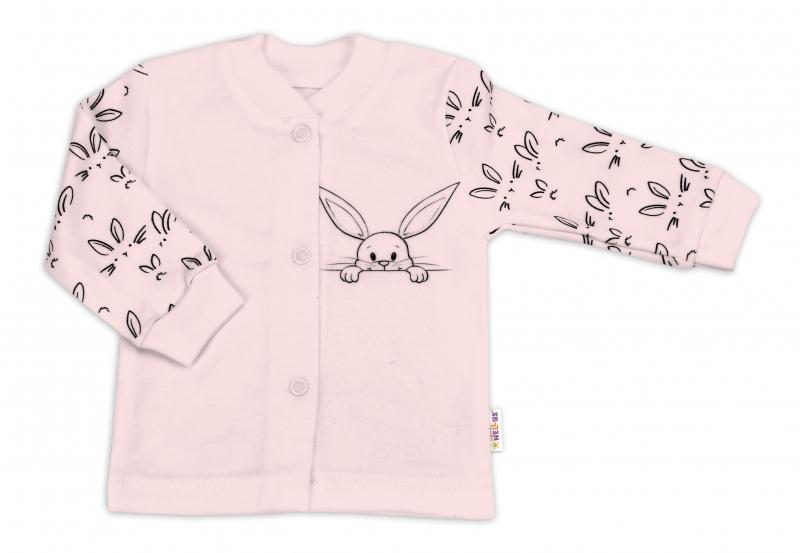 Baby Nellys Bavlněná košilka zap. uprostřed - Králíčci, růžová, vel. 62