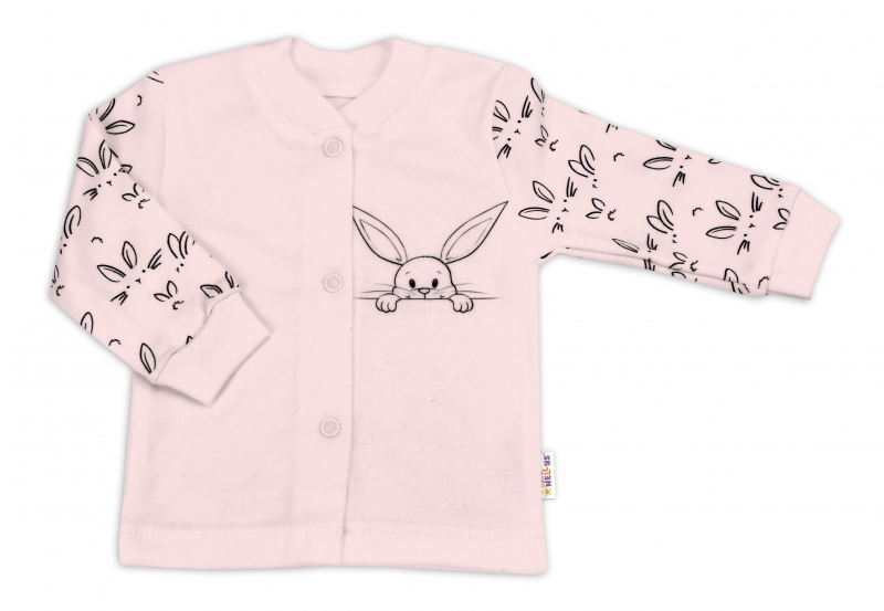 Baby Nellys Bavlněná košilka zap. uprostřed - Králíčci, růžová, vel. 74
