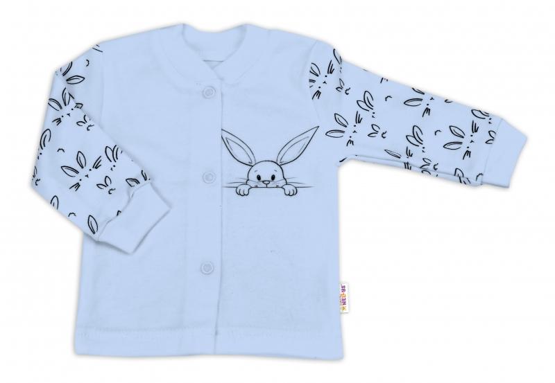 Baby Nellys Bavlněná košilka zap. uprostřed - Králíčci, modrá, vel. 62