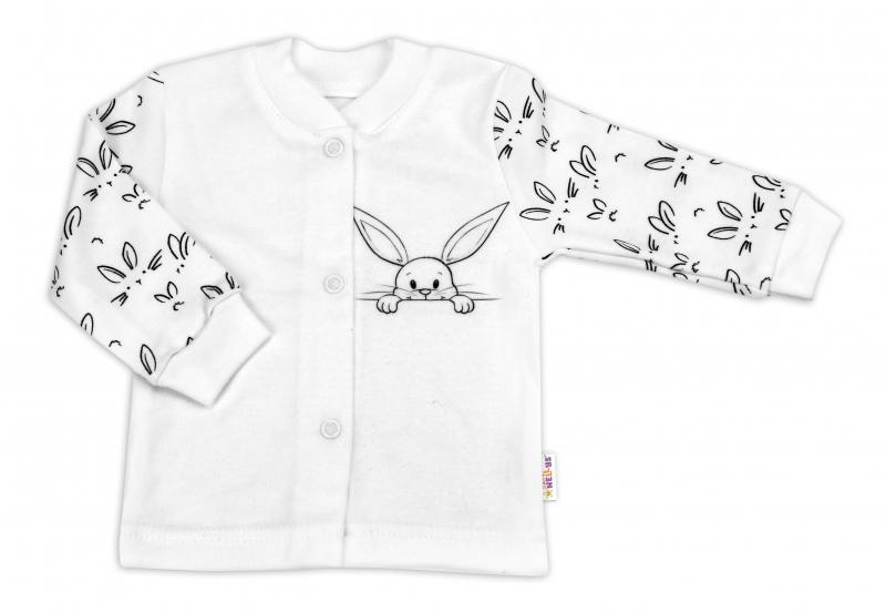 Baby Nellys Bavlněná košilka zap. uprostřed - Králíčci, bílá