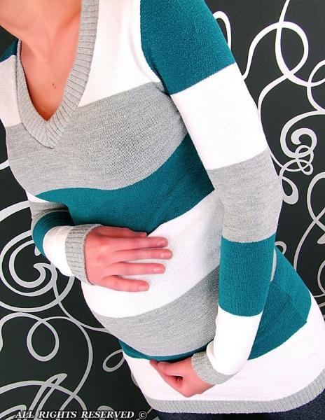 Těhotenská tunika PRUH - mořská