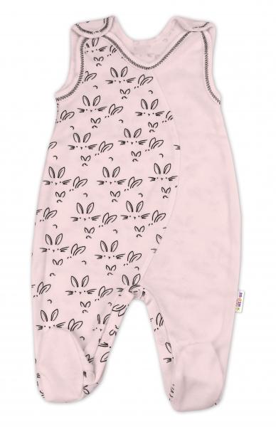 Baby Nellys Kojenecké bavlněné dupačky Králíčci - růžová, vel. 68, Velikost: 68 (4-6m)