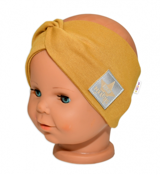 Baby Nellys Hand Made Bavlněná čelenka - dvouvrstvá, hořčicová, obvod: 44-48 cm, 3-7let