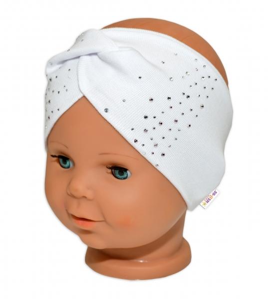 Baby Nellys Hand Made Bavlněná čelenka - dvouvrstvá, bílá s kamínky, 1-3 roky