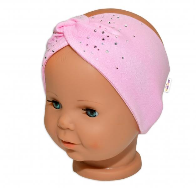 Baby Nellys Hand Made Bavlněná čelenka - dvouvrstvá, sv. růžová s kamínky, 1-3 roky
