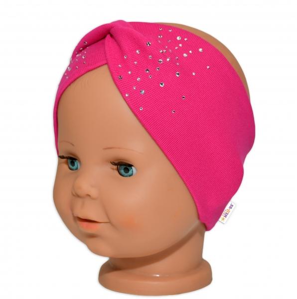 Baby Nellys Hand Made Bavlněná čelenka - dvouvrstvá, tm. růžová s kamínky, 44-48, 3-7 let