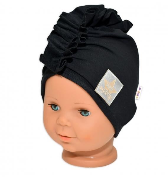 Baby Nellys Jarní/podzimní bavlněná čepice - turban, černá, 44-48 cm, 3-7let