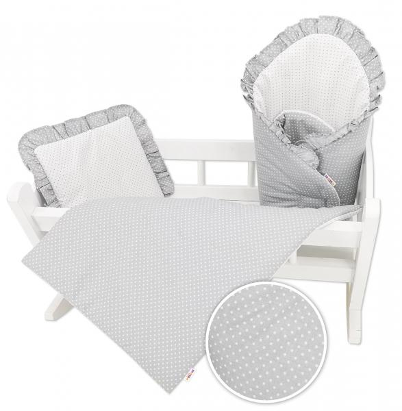 Baby Nellys Luxusní sada pro panenku - zavinovovačka, peřinka a polštářek, šedá s puntíčky