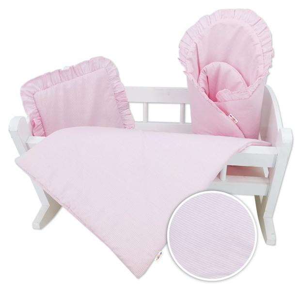Baby Nellys Luxusní sada pro panenku, zavinovovačka, peřinka a polštářek, růžová, proužek