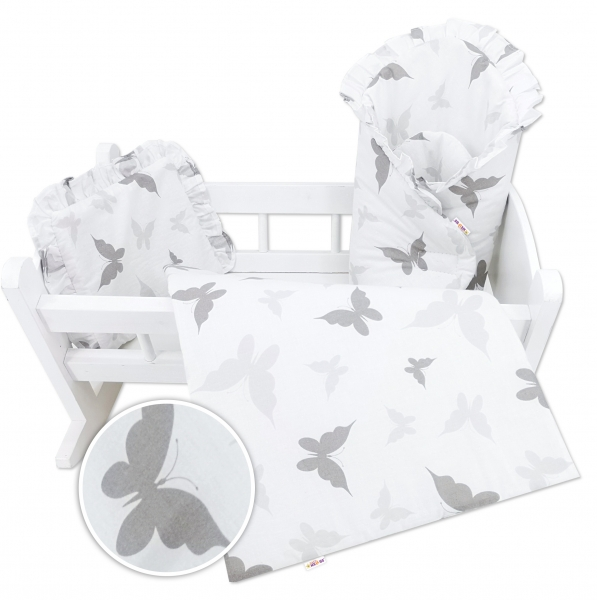 Baby Nellys Luxusní sada pro panenku, zavinovovačka, peřinka a polštářek, šedá, motýlek