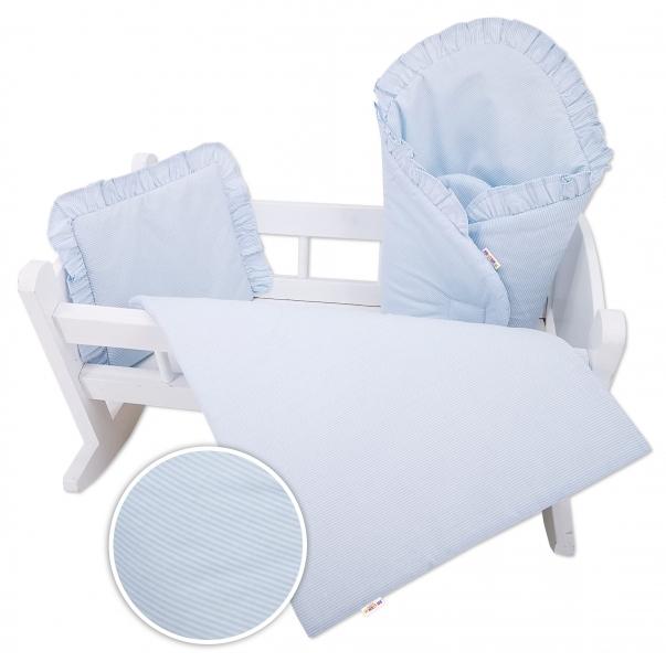 Baby Nellys Luxusní sada pro panenku,  zavinovovačka, peřinka a polštářek, modrý, proužek
