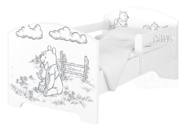 BabyBoo Dětská postel 140 x 70cm Disney - Medvídek PÚ - black, bílá + matrace