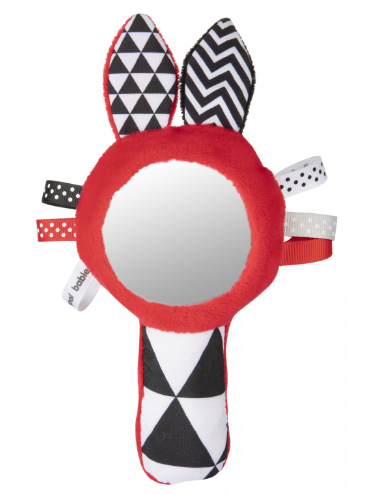 Canpol Babies Zábavná kontrastní pískací hračka se zrcátkem