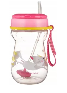 Canpol babies Hrníček sportovní se slámkou a závažím 350 ml, kočička - růžová