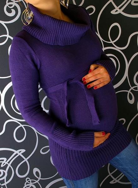 Těhotenská roláková tunika s páskem - fialová