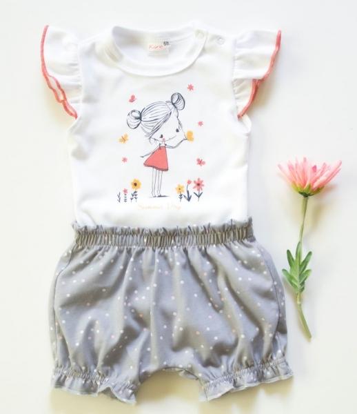 K-Baby 2 dílná dětská sada, body s kraťasky Girl, vel. 74  - šedá, Velikost: 74 (6-9m)
