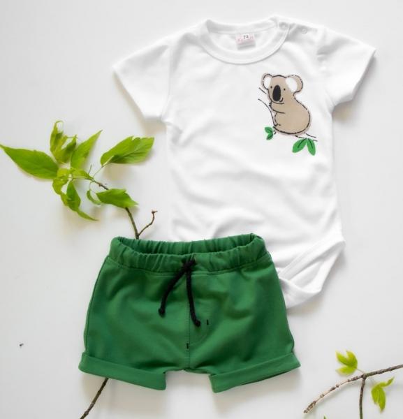 K-Baby 2 dílná dětská sada, body s kraťasky Boy Koala, vel. 74  - zelená, Velikost: 74 (6-9m)