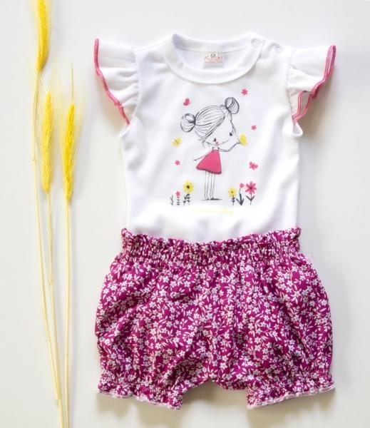 K-Baby 2 dílná dětská sada, body s kraťasky Girl  - fuchsie