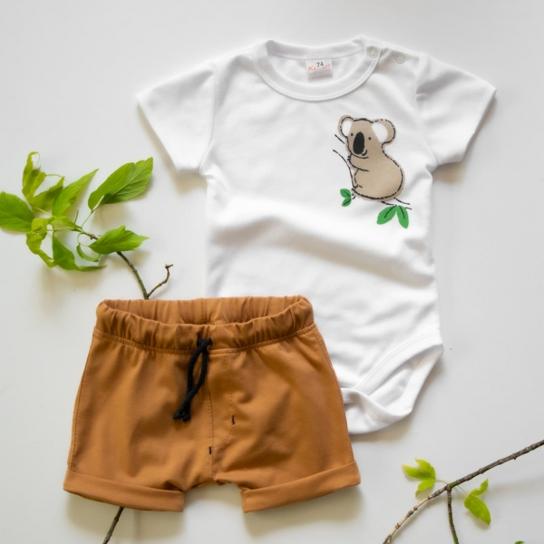 K-Baby 2 dílná dětská sada, body s kraťasky Boy Koala, vel. 80  - hořčicová