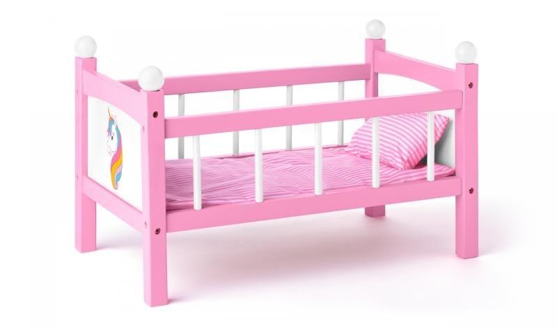 Woody Dřevěná postýlka pro panenky - růžová s jednorožcem