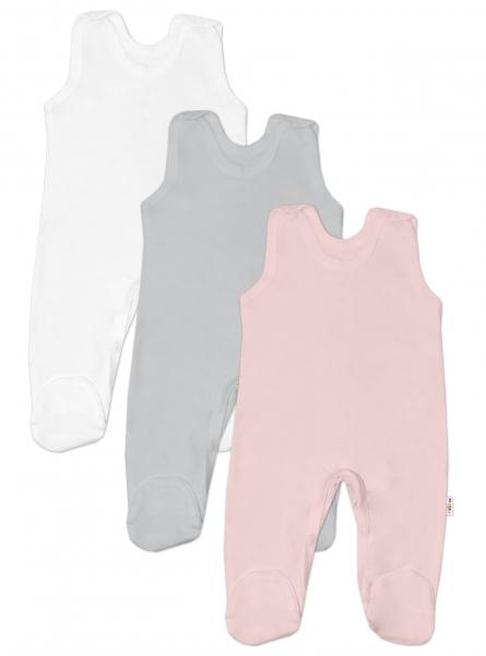Baby Nellys Kojenecká dívčí sada dupaček BASIC - růžová, šedá, bílá - 3 ks