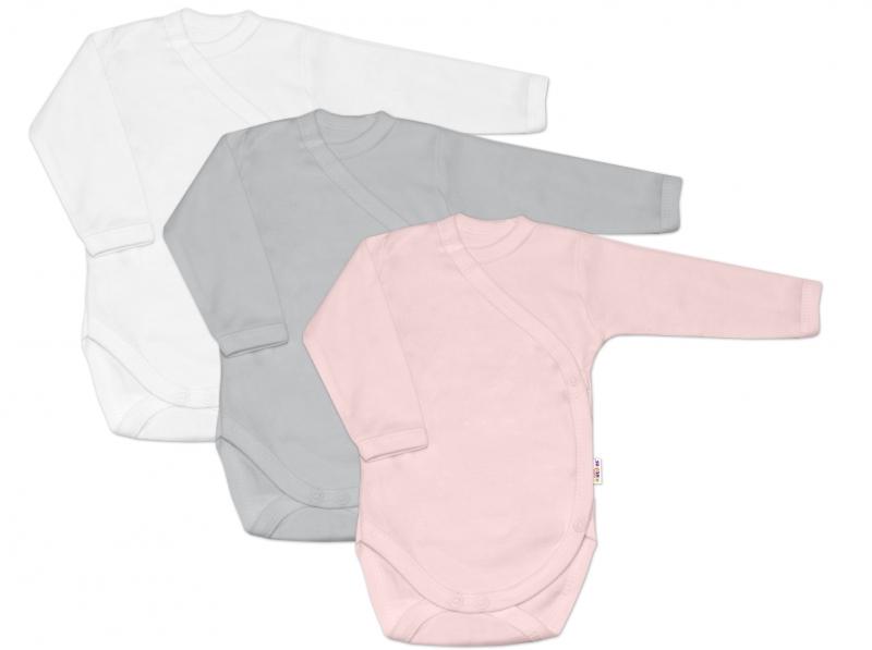 Baby Nellys Kojenecká dívčí sada body zap. bokem BASIC - růžová, šedá, bílá - 3 ks