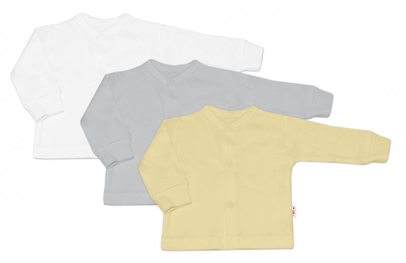 Baby Nellys Kojenecká neutr. sada košilka,kabátek BASIC - 3 ks