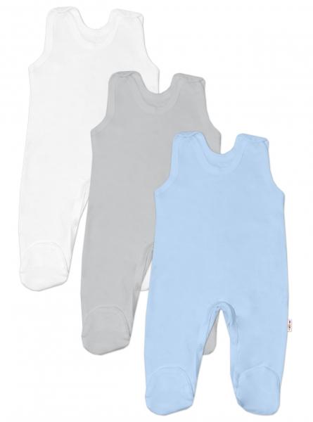 Baby Nellys Kojenecká chlapecká sada dupaček BASIC - modrá, šedá, bílá - 3 ks, vel. 56