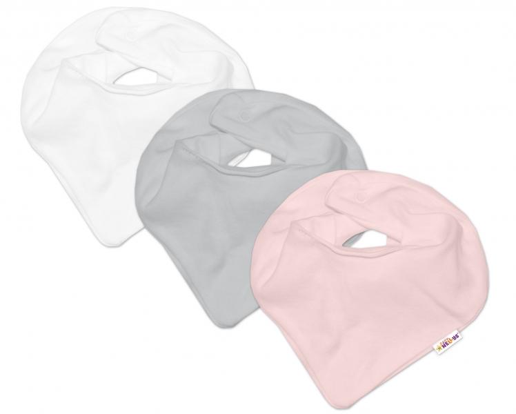 Baby Nellys Kojenecká dívčí sada šátků na krk BASIC - růžová, šedá, bílá - 3 ks