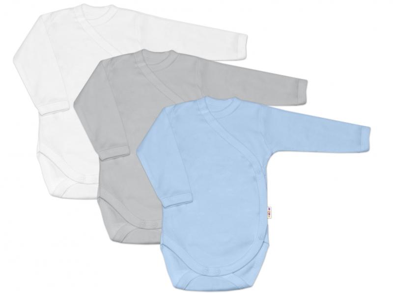 Baby Nellys Kojenecká chlapecká sada body zap. bokem BASIC - modrá,šedá,bílá - 3 ks, 62