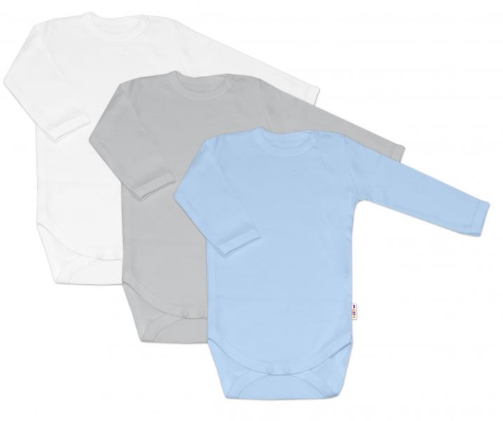Baby Nellys Kojenecká chlapecká sada body BASIC - modrá,šedá,bílá - 3 ks, 68