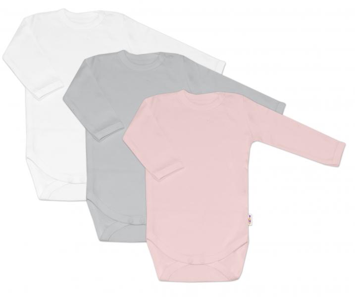 Baby Nellys Kojenecká dívčí sada body BASIC - růžová, šedá, bílá - 3 ks, 68