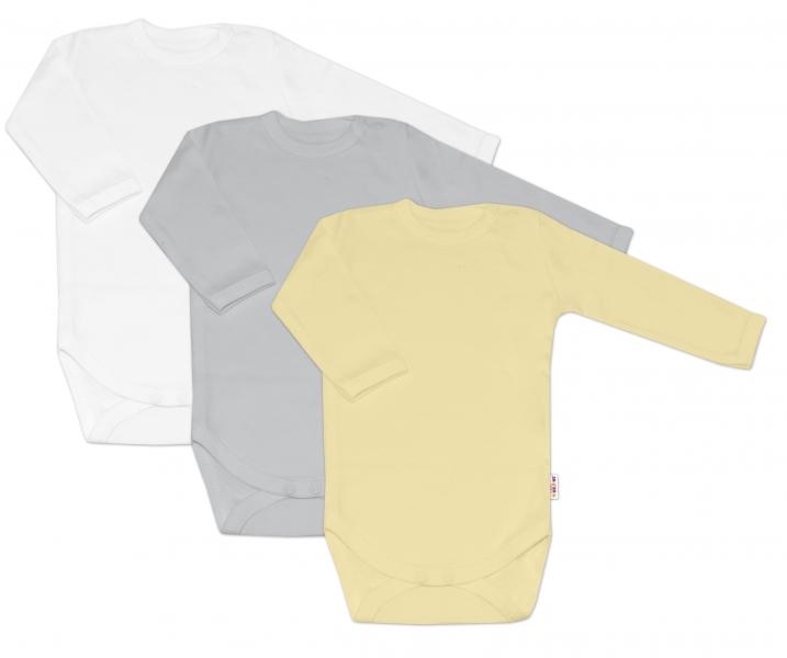 Baby Nellys Kojenecká neutr. sada body BASIC - žlutá, šedá, bílá - 3 ks, 68