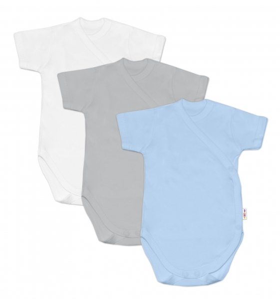 Baby Nellys Kojenecká chlapecká sada body BASIC, kr. rukáv - 3 ks, vel. 68, Velikost: 68 (4-6m)