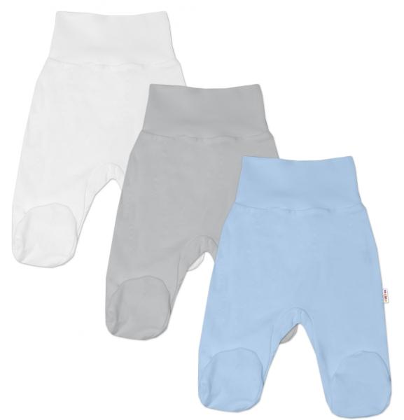 Baby Nellys Kojenecká chlapecká sada polodupaček BASIC - modrá, šedá, bílá - 3 ks