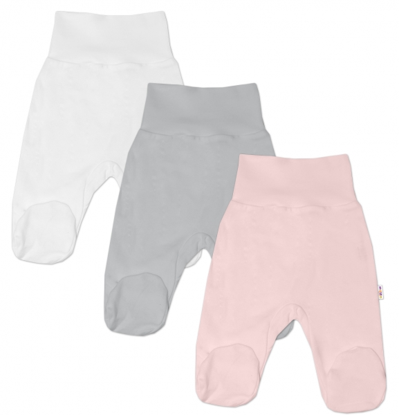 Baby Nellys Kojenecká dívčí sada polodupaček BASIC - růžová, šedá, bílá - 3 ks